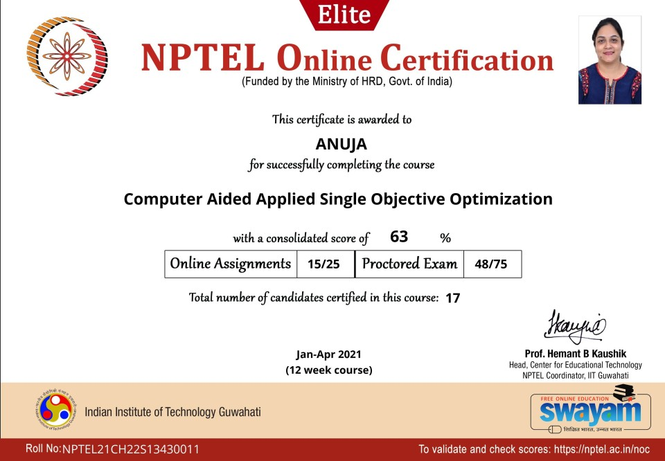 Computer Aided Applied Single Objective Optimization_Certificate